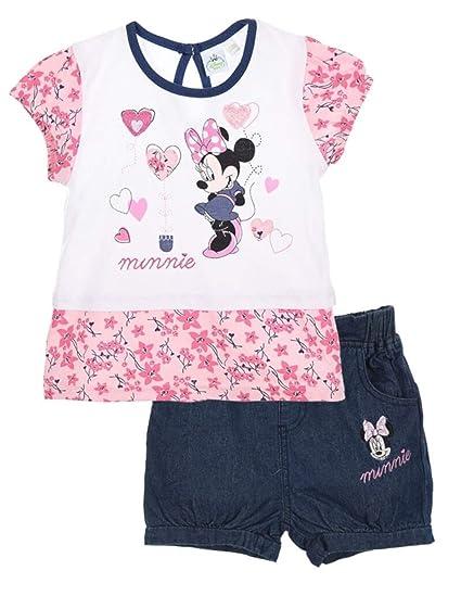 0bd2a9ba02a2e Minnie Ensemble Short et T-Shirt bébé Fille Rose et Marine de 3 à 24mois -  Blanc Marine