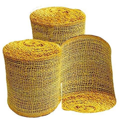 AAYU Brand Premium 3 Pack Burlap Ribbon Roll (Wide) | 2.5 inch x 5 Yards Each No Fray Eco-Friendly, Natural Jute Product