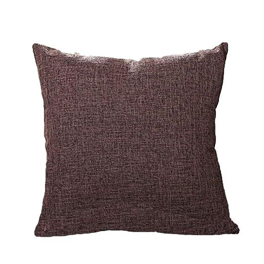 BIGBOBA Funda de cojín de lino de color sólido para sofá ...