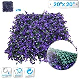 Patio Paradise 26pcs 20''x20'' Artificial Purple Lavender Hedge Panel, Decorative Privacy Fence Screen Greenery Faux Plant Tree Wall for Indoor or Outdoor Garden Décor