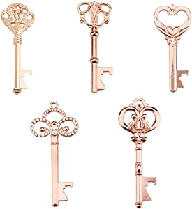 Yuokwer Pack of 25 Rose Gold Skeleton Key Bottle Opener with Escort Tag Card and Twine for Wedding Favors Baby Shower Return Gifts for Guests Party Favors (Mixed 5 Styles,Rose gold)