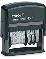 Trodat 92 Printy 4817 Phrase/Date Stamp- 12 English Phrases: Paid, Shipped, Received, E-Mailed, More! 12 Year Dates. Up to 65% Recycled Plastic.