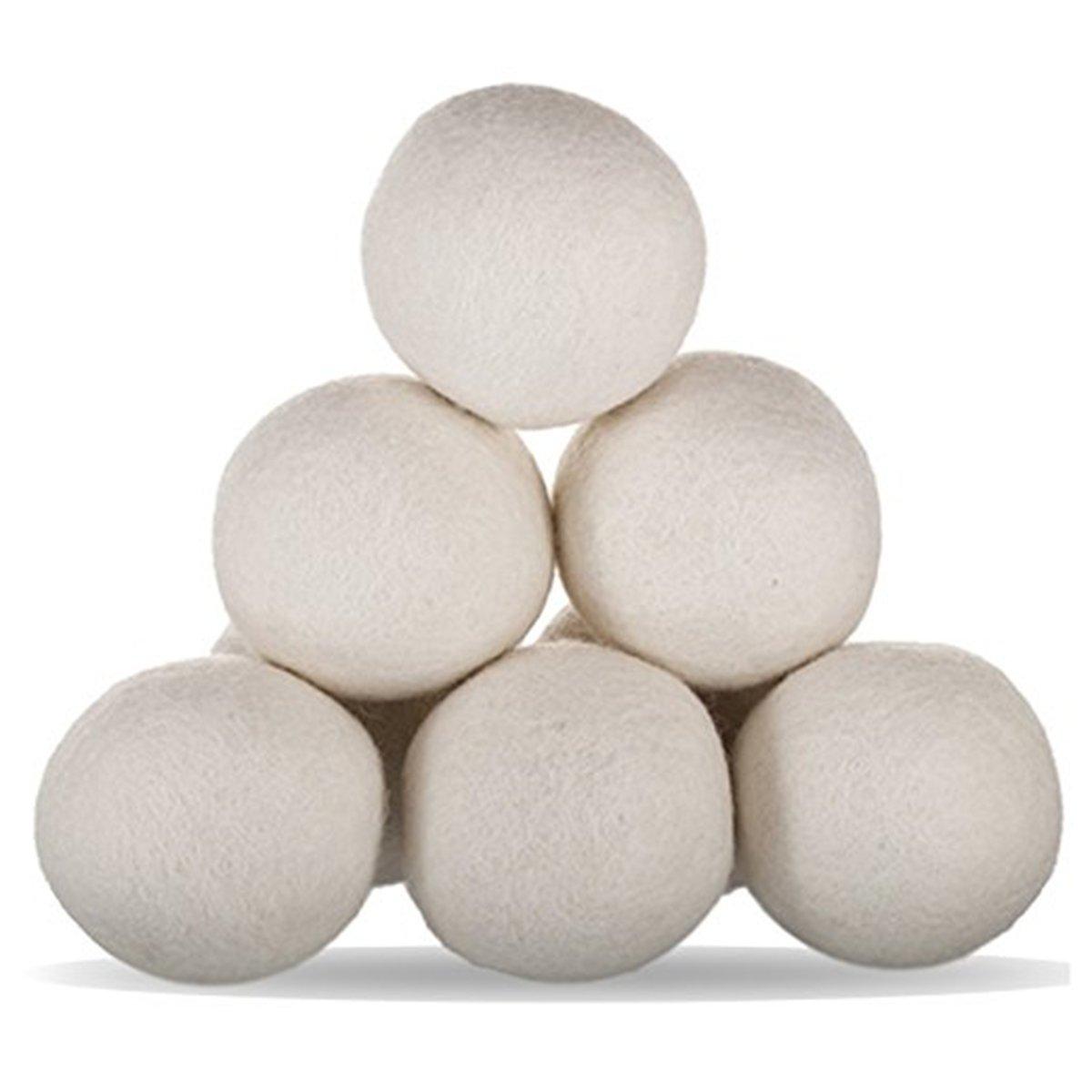 OUNONA Wool Dryer Balls Organic Wool Softener Laundry Balls 6pcs (White)