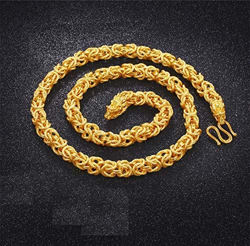 (WOkismx Vietnam Sand Gold Necklace Men and Women Money Column Solid Chain Brass Gold-Plated Pendant Still Wild Clavicle Chain Jewelry Boyfriend Gift)