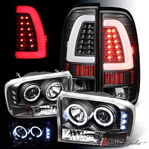 For 1999-2004 Ford F250/F350/F450/F550 Black Halo Projector Headlights + Light-Bar LED Tail Lights 2000 2001 2002 2003