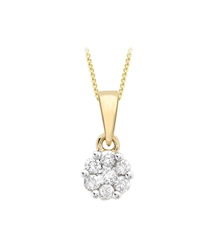 Carissima Gold 9ct Yellow Gold 0.10ct Diamond Double Teardrop on Curb Chain Necklace of 46cm/18 tBIo0VmWhl