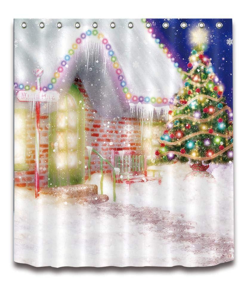 LB Frohe Weihnachten Duschvorhang Haus Dekor/Schnee,Bunte Laterne ...