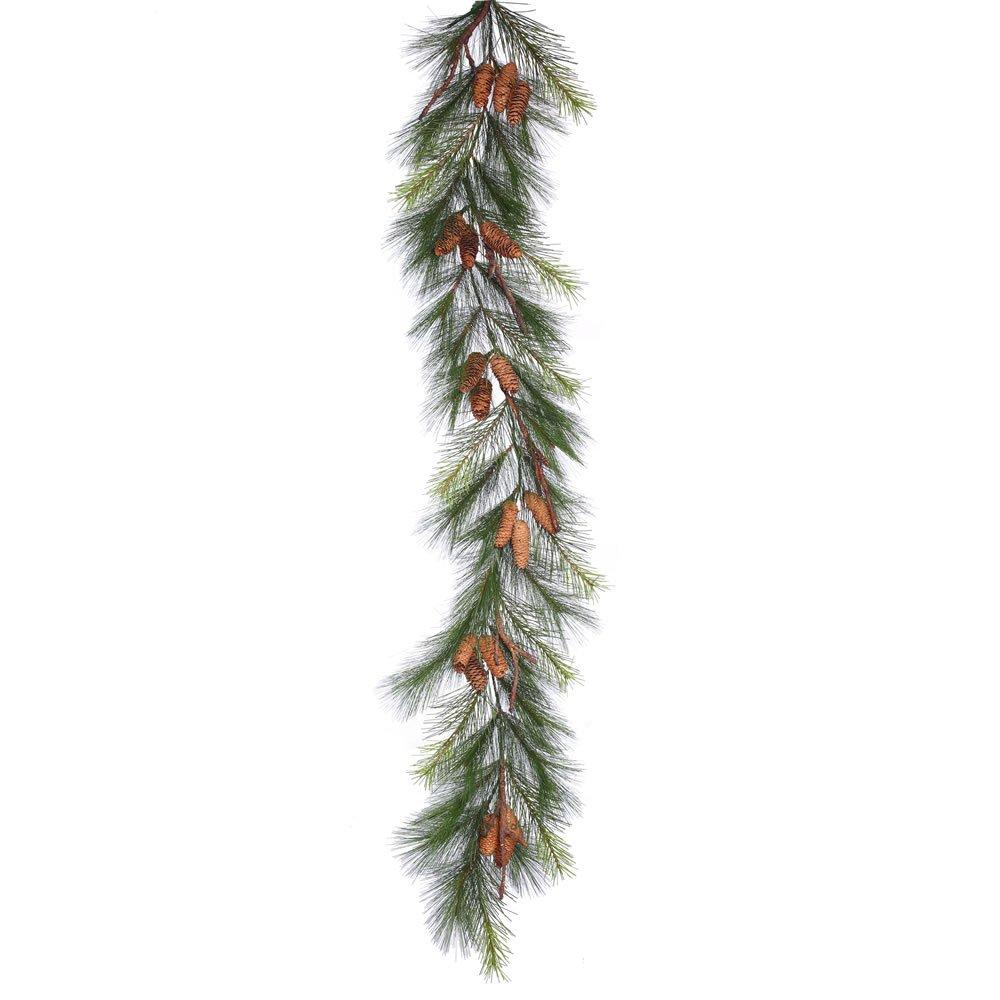Vickerman E155614 Bavarian Pine Garland with Cones & 38 Hard Needle/PVC Tips, 6' x 15''