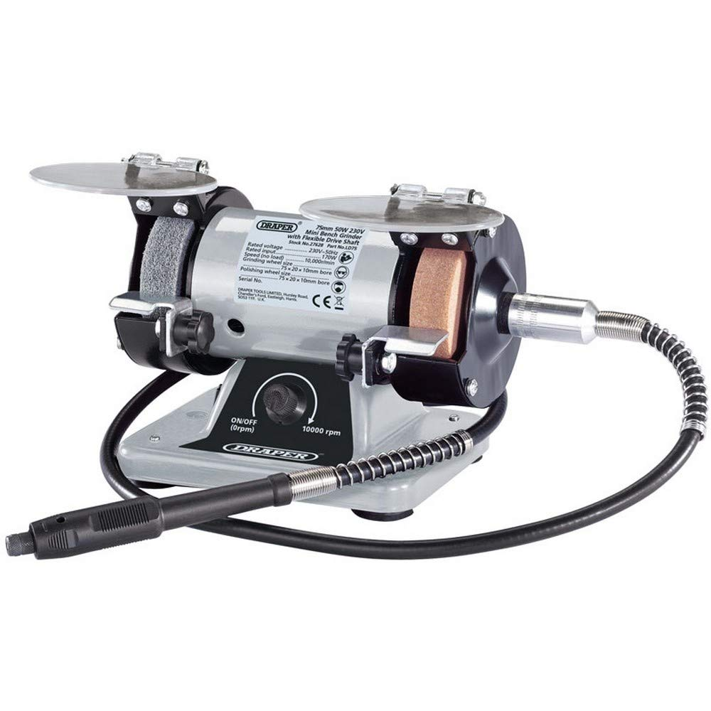 Draper 27628 75MM 170W Mini Bench Grinder with Flexible Drive Shaft and Box of Accessories