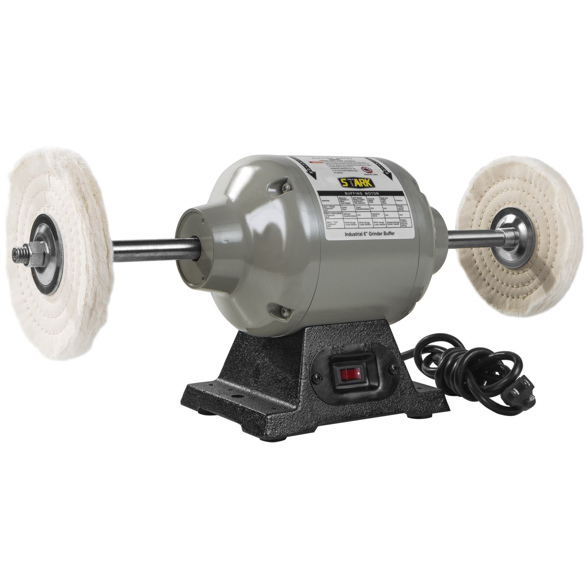 XtremepowerUS 6 inch Benchtop Buffer Polisher Grinder Heavy Duty 2.5 Amps 3 450rpm 1 2 HP