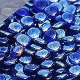 Blue Ridge Brand™ Dark Blue Reflective Fire Glass Beads - 50-Pound Professional Grade Fire Pit Glass - 3/4'' Reflective Fire Pit Glass Bulk Contractor Pack