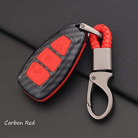 ontto for Ford Carbon Fiber Texture Smart Key Cover Case Key Shell Remote Key Box Key Chain Key Ring Prevent Scratch and Falling Fits Ford Mondeo ...