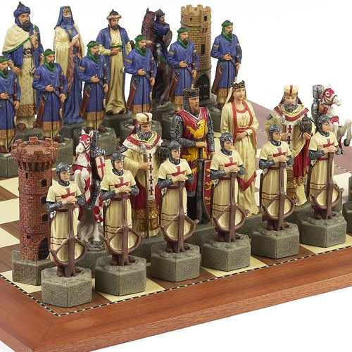 Crusade Chessmen & Astor Place Board from Spain Extra Large, King: 6 7/8