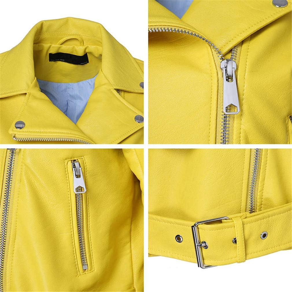 HYDSFG Leather Jacket Women Autumn Yellow Color Belt Zippers Short Length Turn-Down Collar Casual Basic Jacket