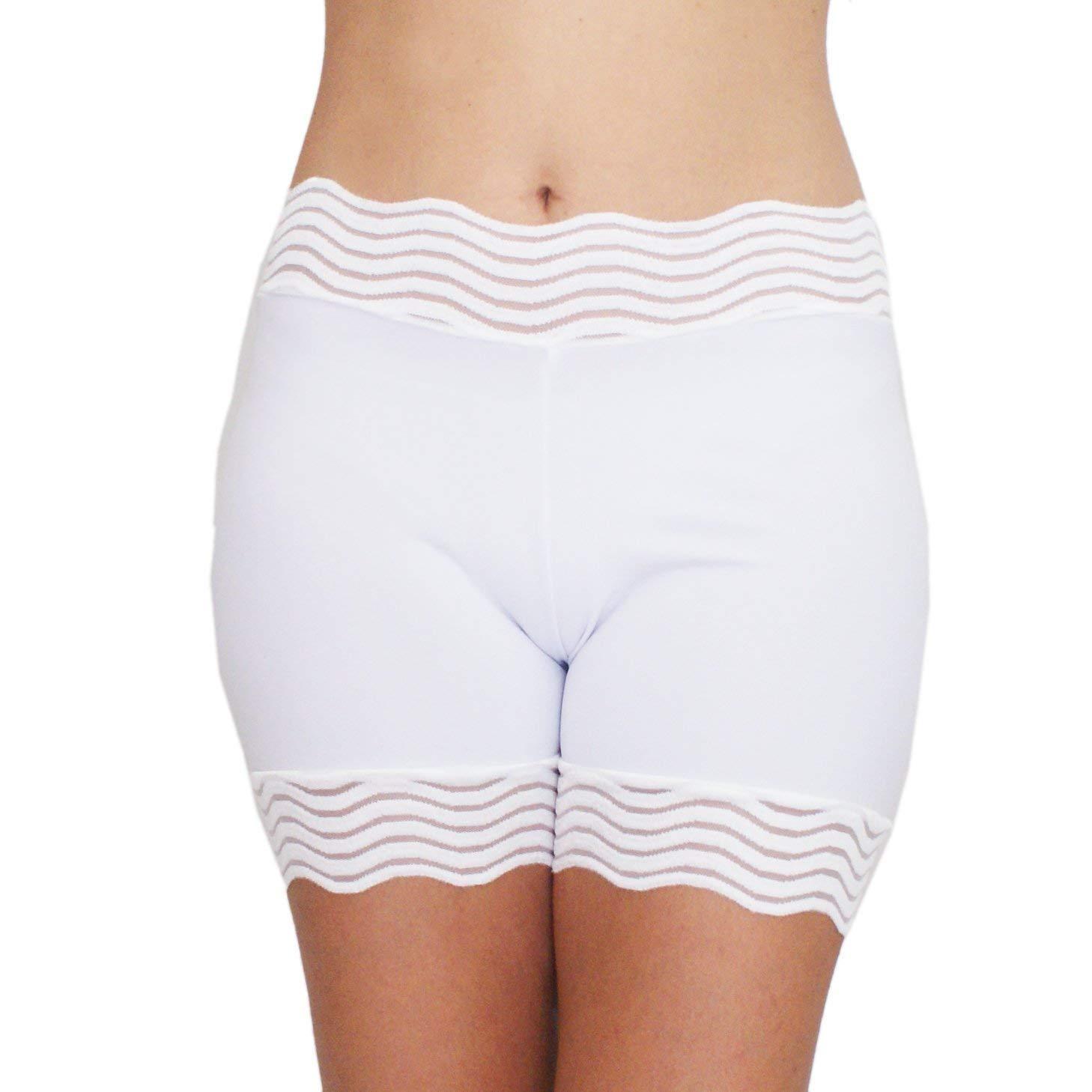 Bridal Underwear White Under Dress Shorts Lace Trim Biker Shorts