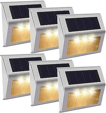 Luz Cálido]Luces Solares 3 LED Exterior Jardin,Impermeable Acero Inoxidable Lámparas Solares para Escaleras,Camino,Patio,Pared y Jardín(paquete de 6): Amazon.es: Iluminación