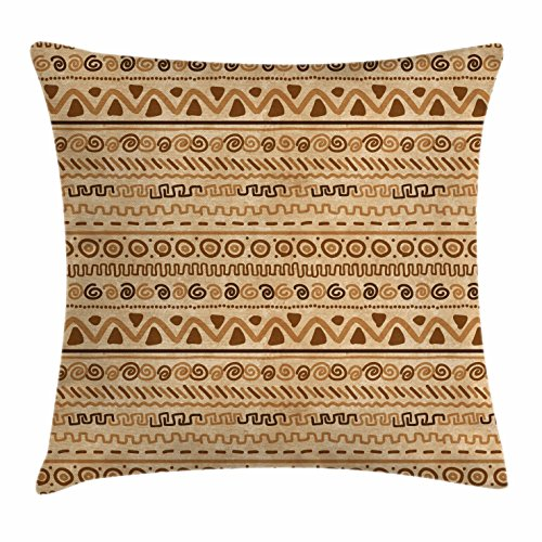 Zambia Throw Pillow Cushion Cover by Ambesonne, Ethnic Hieroglyph Style Geometric Abstract Ancient Native American Motif, Decorative Square Accent Pillow Case, 16 X 16 Inches, Sand Brown Caramel