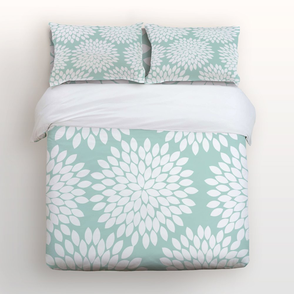 Libaoge 4 Piece Bed Sheets Set, Green White Dahlia Floral Pattern, 1 Flat Sheet 1 Duvet Cover and 2 Pillow Cases
