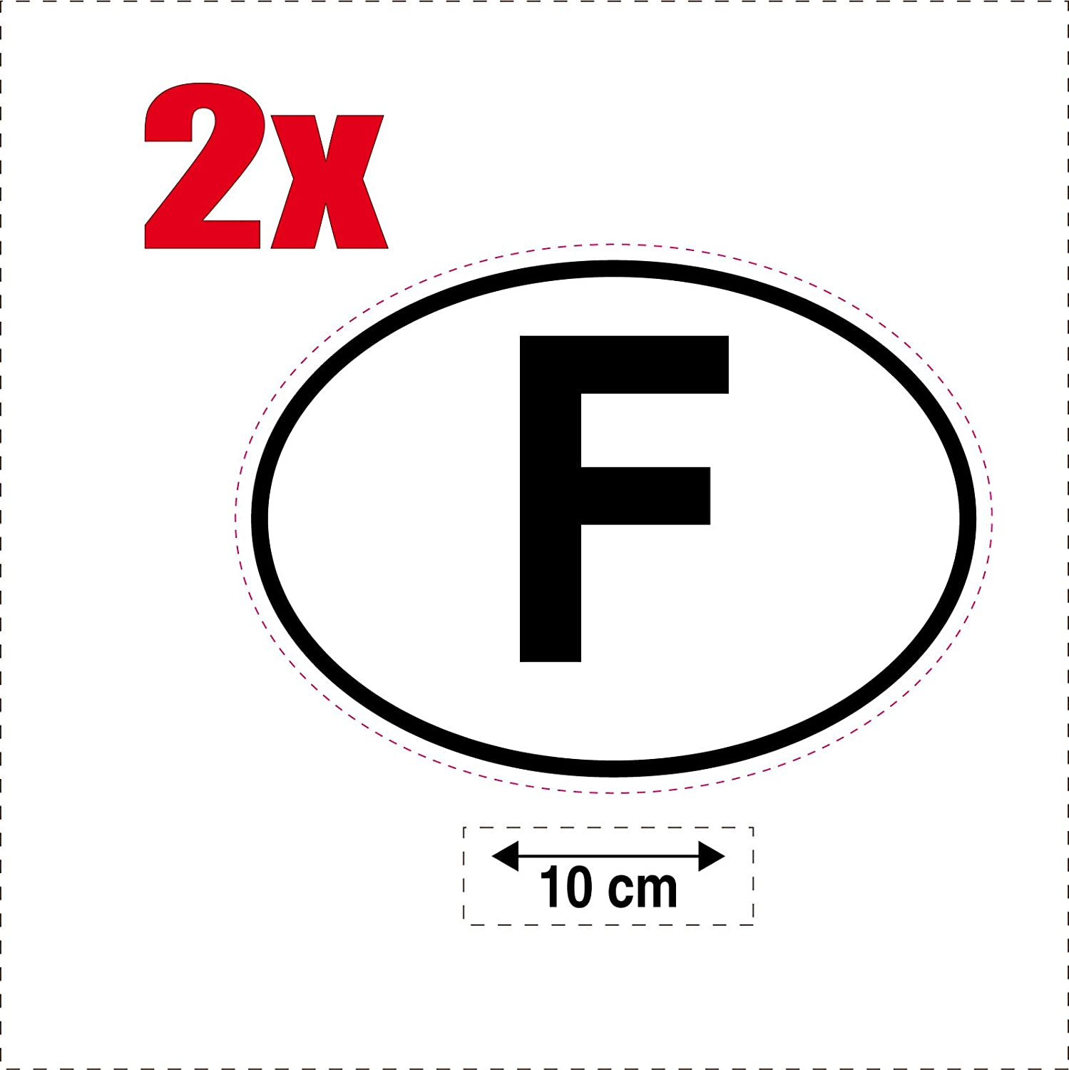 France 2 x Oval country flag code F self-adhesive stickers for cars and motorbikes