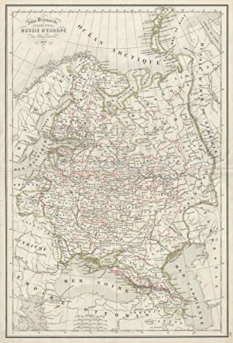 Historic Map | Delamarche Map of European Russia, Version 2, 1850 | Historical Antique Vintage Decor Poster Wall Art | 16in x 24in
