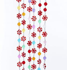 Kurt Adler MULTI-COLOR CANDY WITH RED AND WHITE PEPPERMINT ROUNDS GARLAND