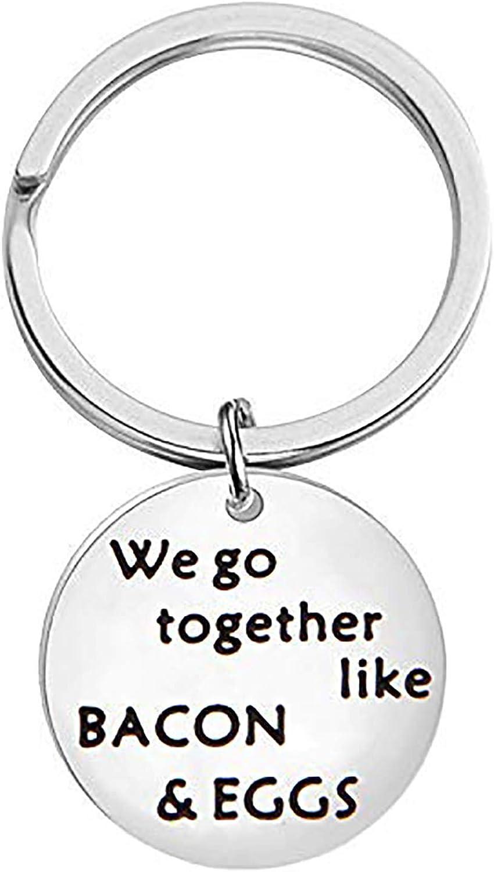 CHOROY We Go Together Like Bacon Eggs Keychain Couple Keychain Breakfast Gift Food Jewelry Friendship Gift