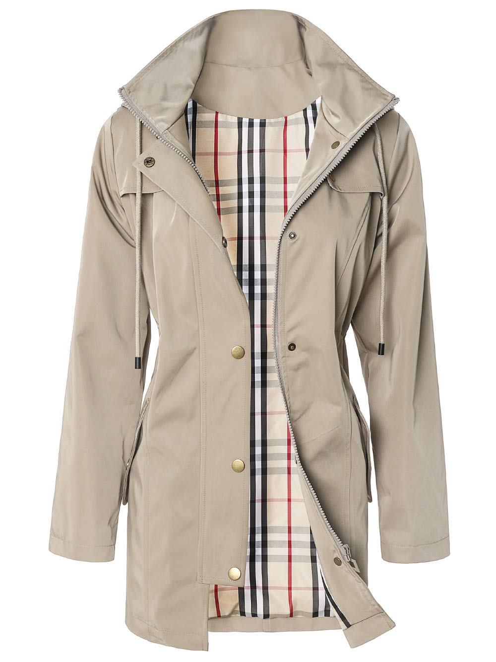 SaphiRose Women's Hooded Water-Resistant Rain Jacket Coat (Khaki,XXL) by SaphiRose