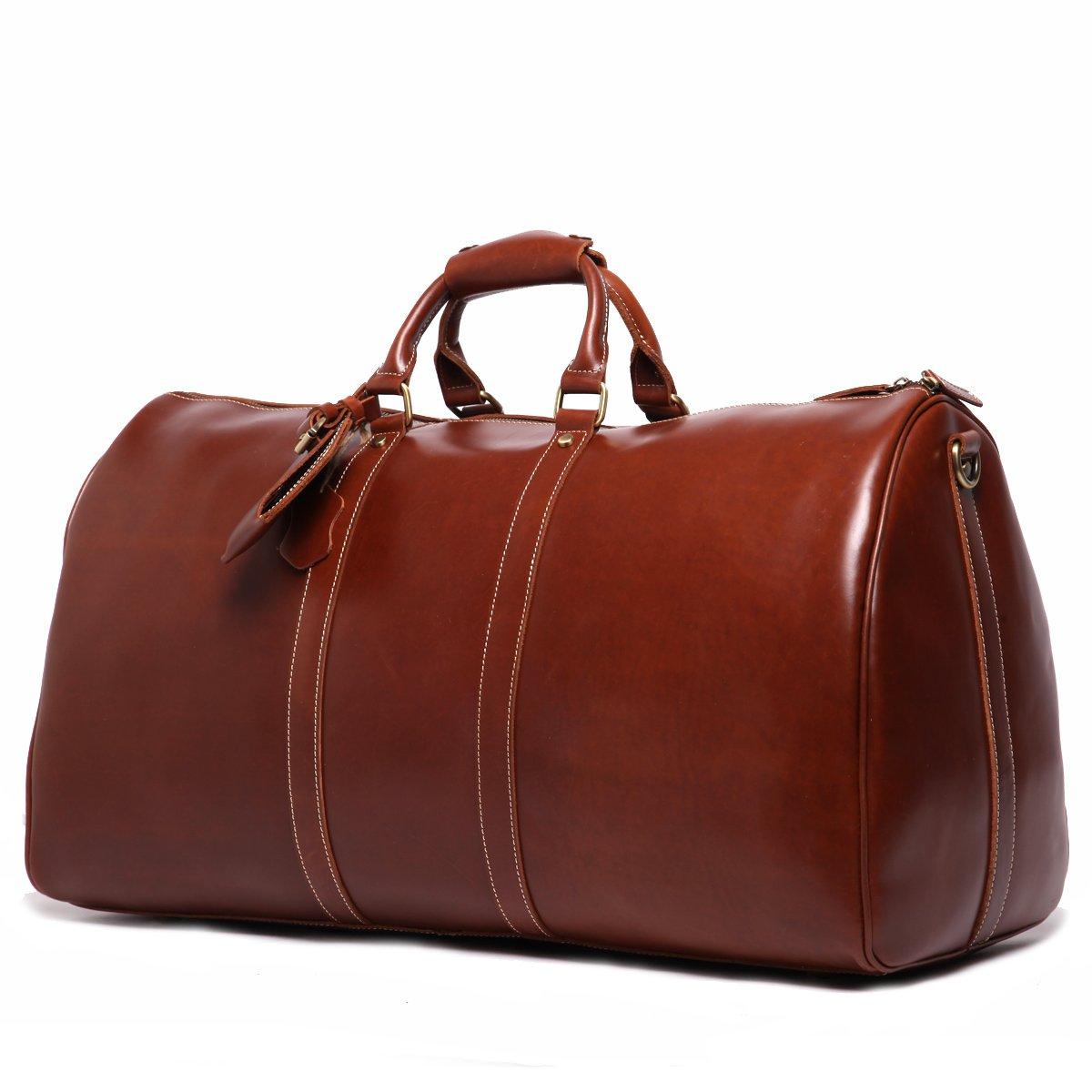Leathario Mens Genuine Leather Overnight Travel Duffel Weekender Bag Leather Luggage