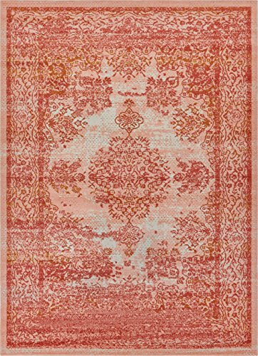 Medallion Blush (Well Woven FI-10-3 Firenze Cannes Modern Vintage Ethnic Medallion Distressed Pink Accent Rug 2' x 3' Doormat)