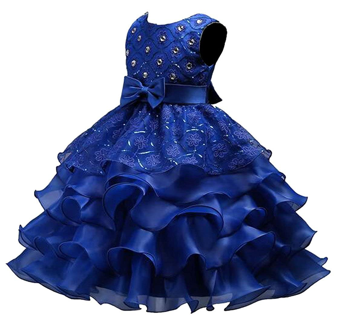 JuJuTa Girls Bowknot Sleeveless Sequins Solid Belted 4 Layer Tutu Dress