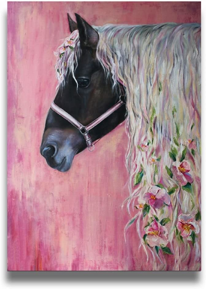 Ale-art Floral Pink Horse Girl Modern Oil Painting for Wall Decor Gallery Wrapped Giclee Canvas Print Wall Art On Canvas Ready to Hang