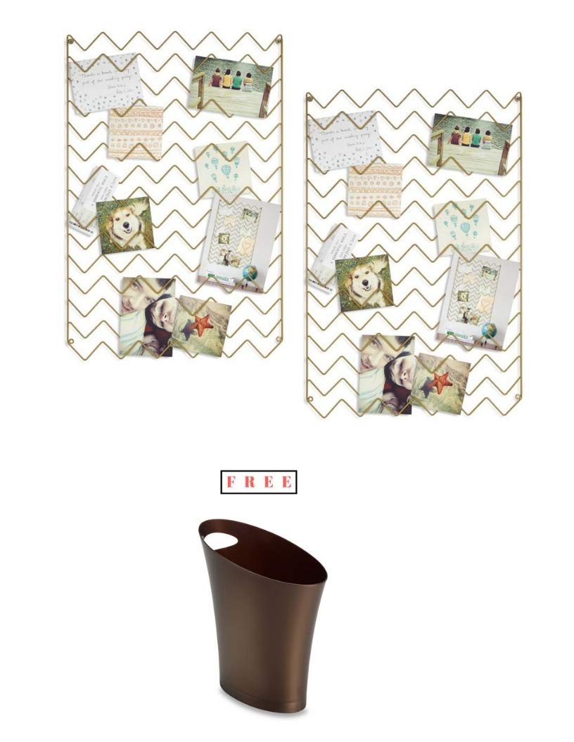 Umbra- Pack of 2 Zig Zag Photo Collage Display in Gold with Free!