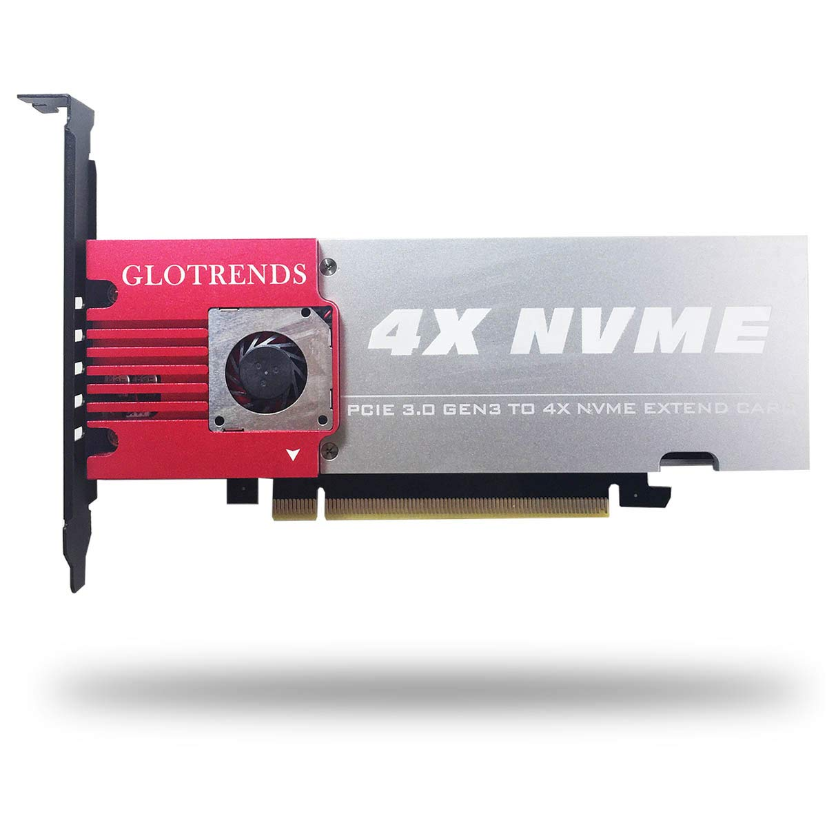 GLOTRENDS 4-Bay M.2 NVME Adapter, Soft RAID Support, Up to PCIE 3.0 X8 Bandwidth, Aluminum Cover with Built-in Fan (Palace)