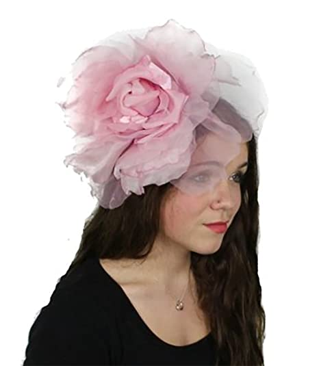 Hats By Cressida Large Baby Pink Silk Flower Fascinator Hat For