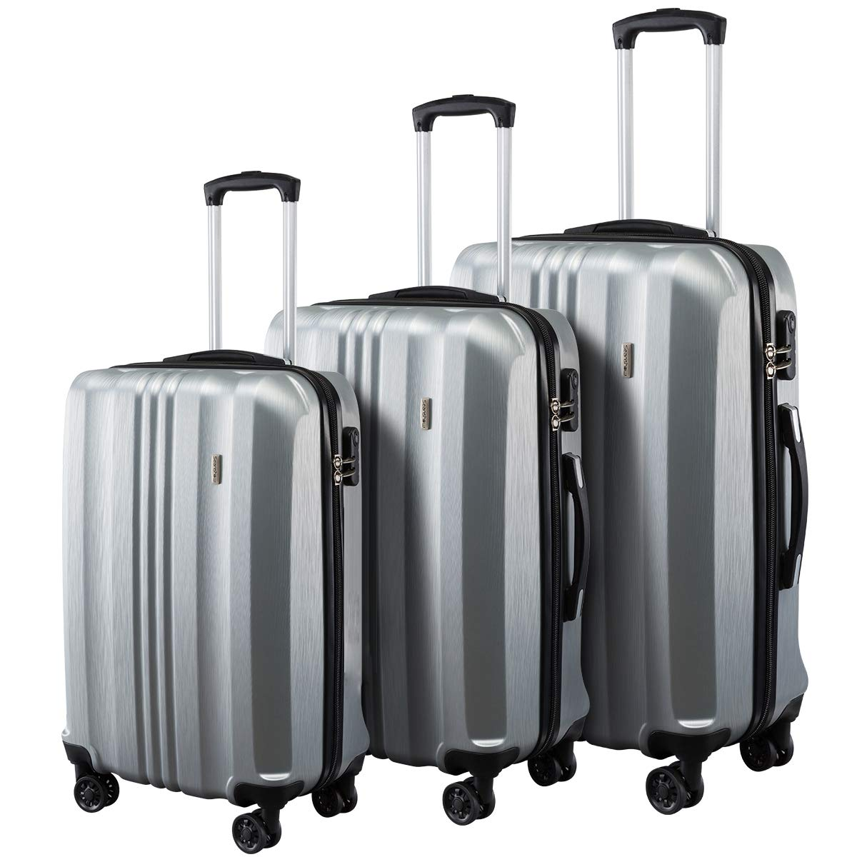 fa4712afbe40 Seanshow Luggage 3 Piece Set ABS Spinner Hardshell Suitcase 20 24 28inch  silver