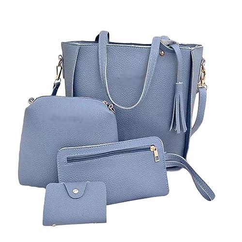 Messenger Tasche Klein Schultertasche Damen Frauen Leder Elegant Clutch 4 Baijiaye Handtaschen Stück Groß Umhängetasche Bag Card Set Pu EIH2W9DYe