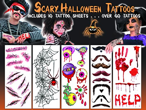 Halloween Temporary Tattoos - Scary! - over 60 tattoos including scary scars, creepy spider webs, zombie eyes and cool musaches -