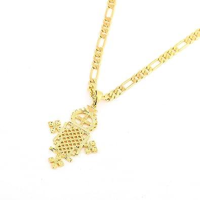 Amazon ethiopian gold cross pendant necklace 24k gold plated ethiopian gold cross pendant necklace 24k gold plated eretrian coptic jewelry crosses african aloadofball Images