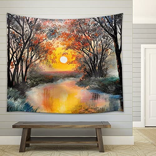 Oil Painting The River Watercolor Wallpaper Tree Fabric Wall