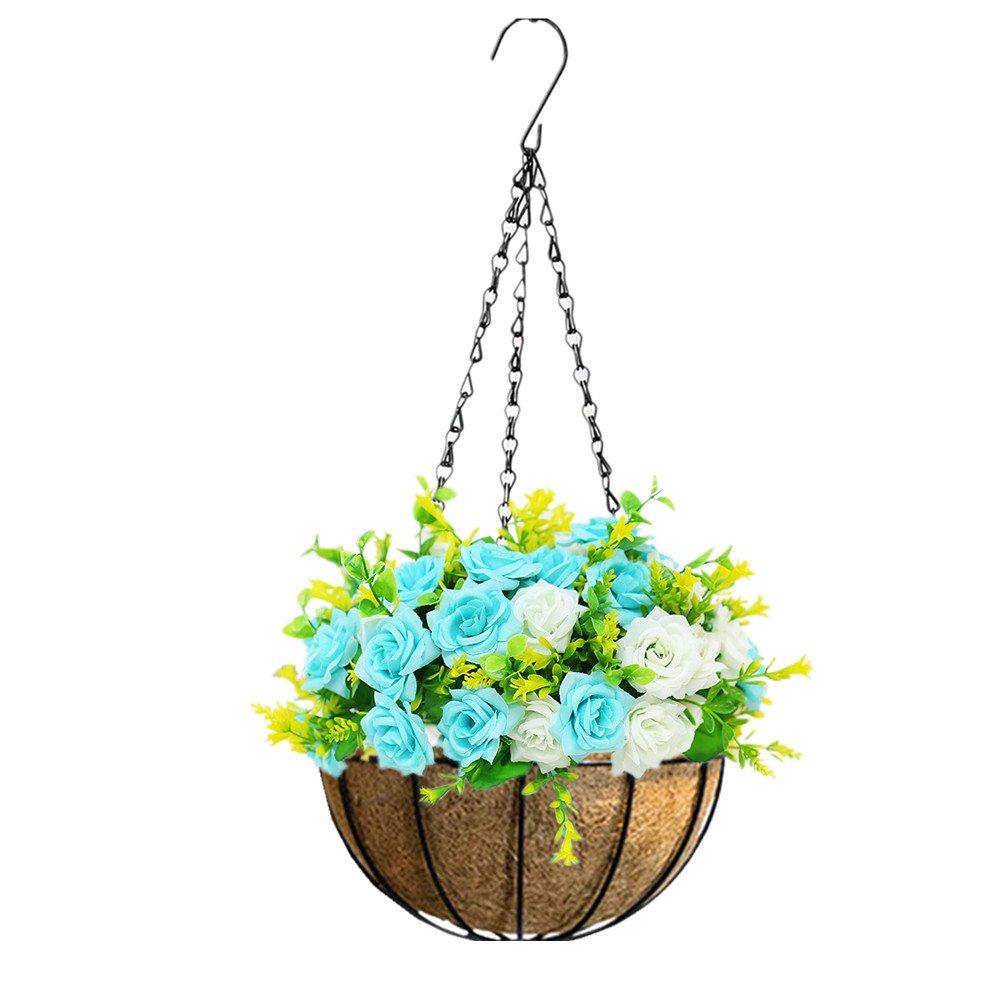 mynse Hanging人工花のバスケットのホームガーデンウェディング外装飾ハンギングFlowerpot人工ローズ花ブルーとホワイト Big Basket B07FPP9GDX  Big Basket