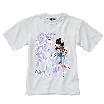 photos officielles 7b7a2 ad38f personnalisé pour enfant T-shirt Blanc - Fée et licorne ...