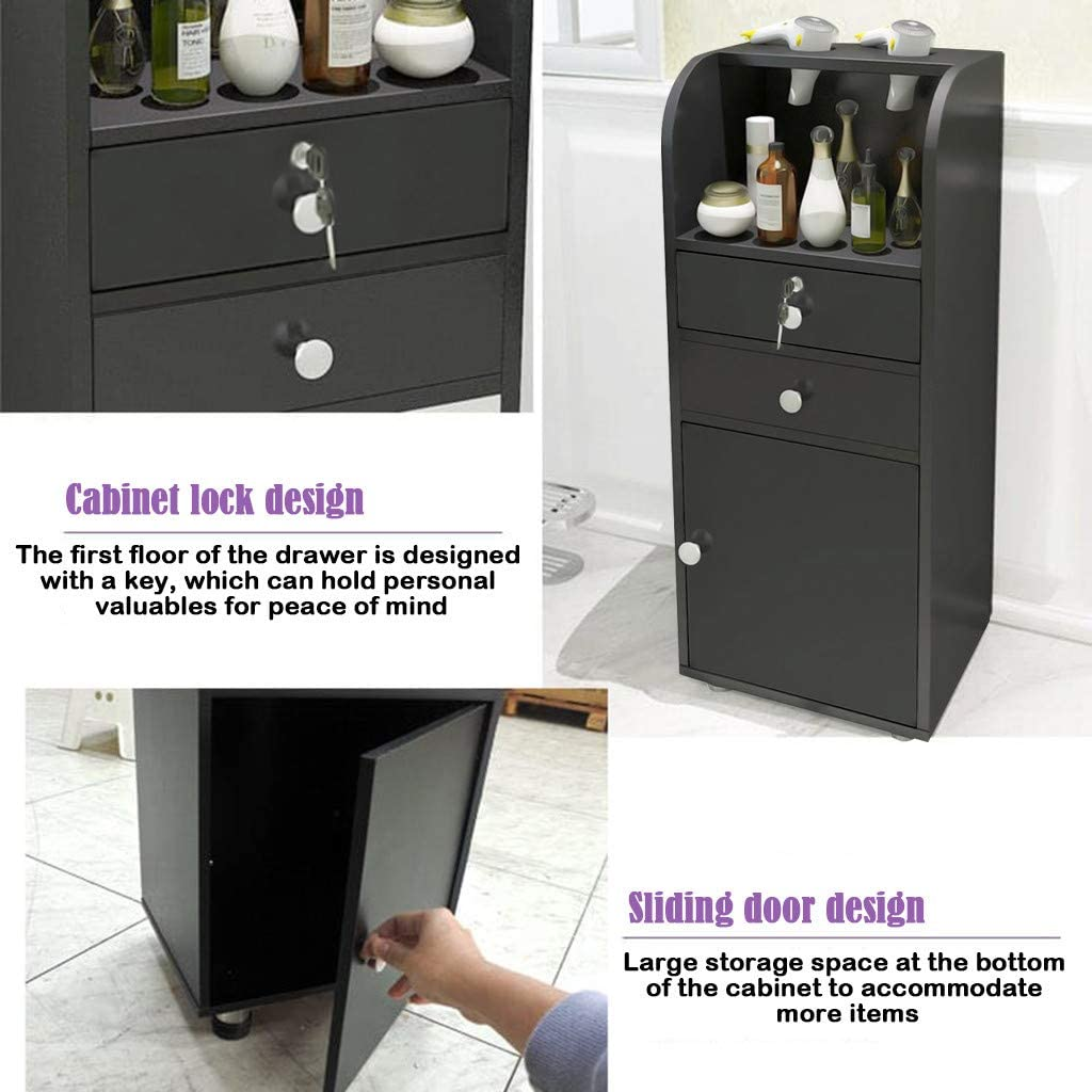 C-Easy Barber Cabinet,Beauty Salon Locker,Floor Cabinet Storage with 2 Drawers and Locker Cabinet for Living Room Bathroom,Sturdy Modern Side Table,Black