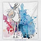 59 x 59 Inches Girly Decor Fleece Throw Blanket Sketchy Fashion Lady with Hat Looking at Watercolor Splash Brushstroke Steam Artsy Image Blanket