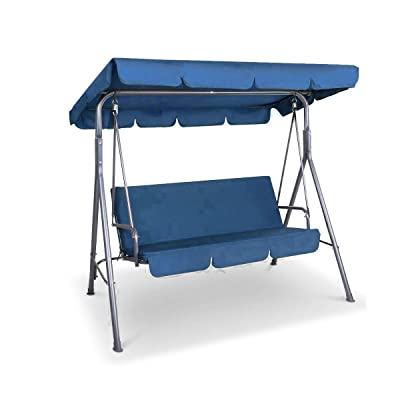 Swing Top Cover Canopy Replacement UV Block Sun Shade Waterproof for Porch Furniture Seat (Blue) : Garden & Outdoor