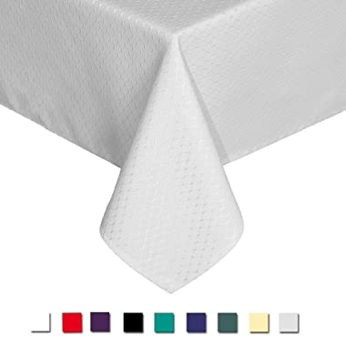 Eforcurtain Home Decor Water Resistant Table Cover Fabric Waffle Weave Tablecloth, Pearl White, Extra Long 60 By 120-inch