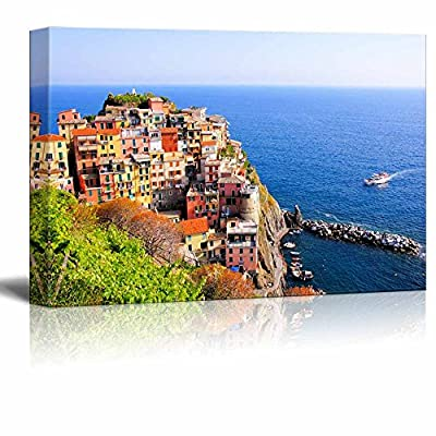 Beautiful Landscape Scenery of Aerial View Over a Cinque Terre Village on The Coast of Italy - Canvas Art Wall Art - 32