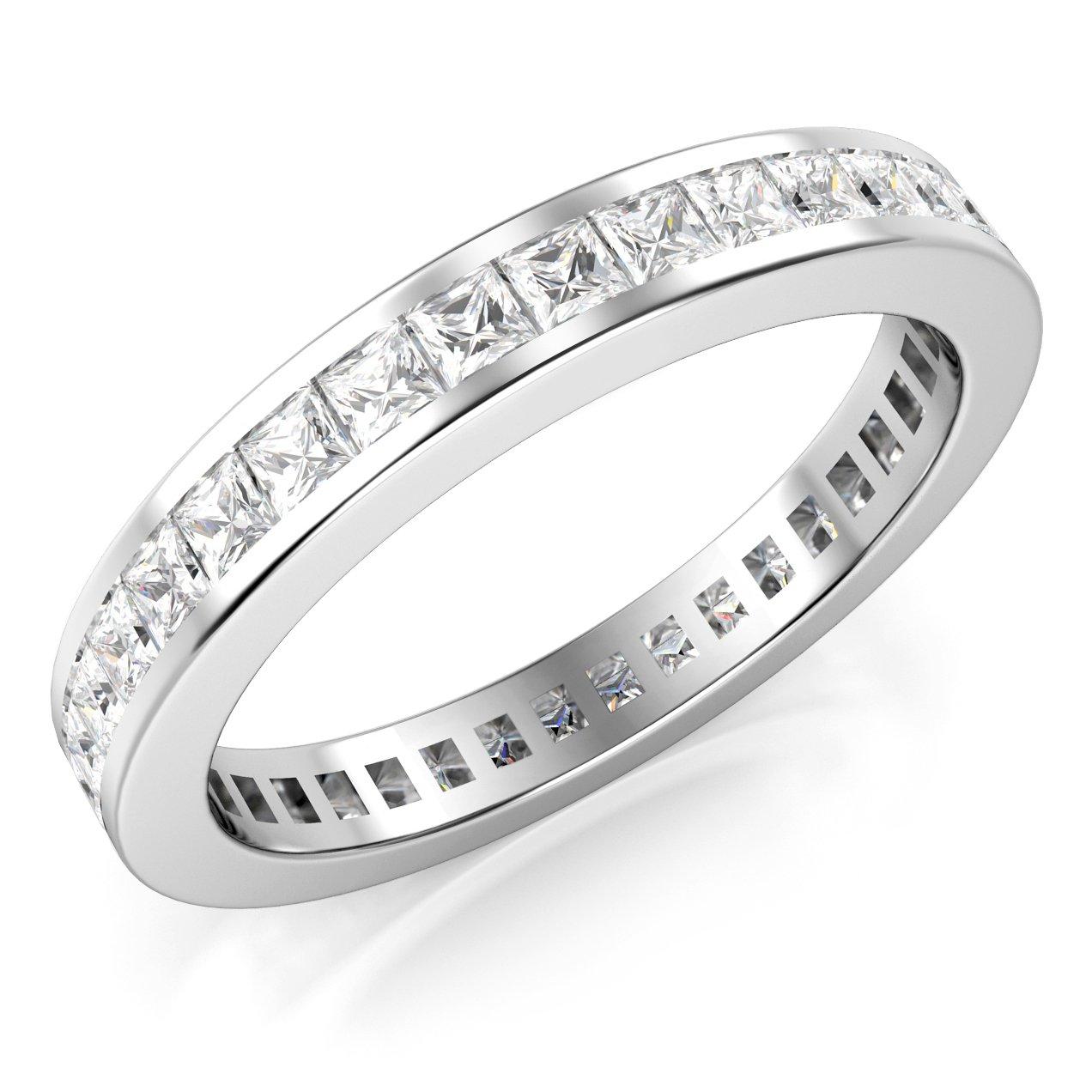 3MM Sterling Silver Princess Cut CZ Eternity Cubic Zirconia Ring Metal Factory