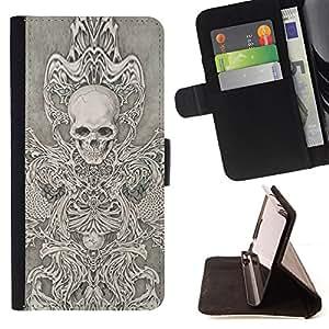 BullDog Case - FOR/Samsung Galaxy S3 Mini I8190Samsung Galaxy S3 Mini I8190 / - / ANGEL DEATH WHITE BLACK SKETCH SKULL /- Monedero de cuero de la PU Llevar cubierta de la caja con el ID Credit Card Slots Flip funda de cuer