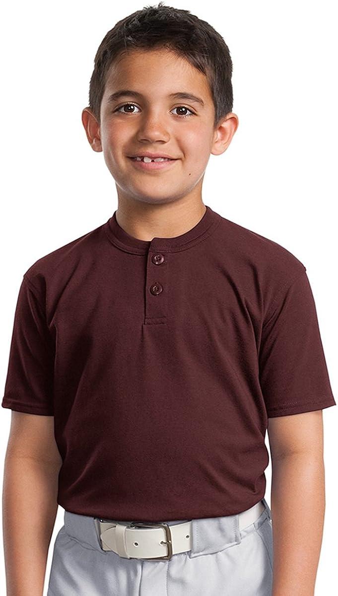 XL Sport-Tek Youth Short Sleeve Henley Maroon