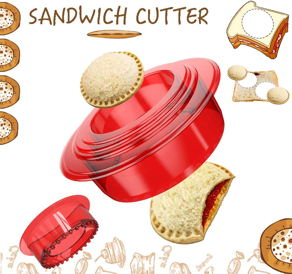 OHYGGE Sandwich Cutter and Sealer - Uncrustables Maker - Sandwich Cutter for Kids - Sandwich Sealer and Decruster for Boys and Girls - Red